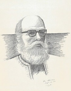 Drawing of Norman Daly by Kenneth Evett